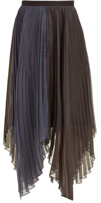 Marina Moscone - Pleated Organza Voile Midi Skirt - Womens - Black Navy