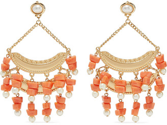 Kenneth Jay Lane Gold-tone, Faux Pearl And Bead Earrings
