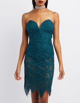 Charlotte Russe Eyelash Lace Strapless Bodycon Dress