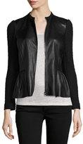 Rebecca Taylor Boucle & Leather Peplum Jacket, Black