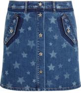 Valentino Bleached Star-print Stretch-denim Mini Skirt - Mid denim