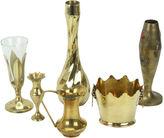 One Kings Lane Vintage Solid Brass Mismatched Vases, S/6