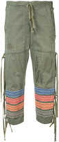 Greg Lauren embroidered stripes cropped trousers