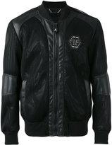Philipp Plein logo bomber jacket - men - Cotton/Nylon/Polyamide/Spandex/Elastane - S