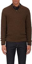 Inis Meain Men's Ribbed Linen-Silk V-Neck Sweater