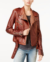 William Rast Kate Embellished Faux-Leather Moto Jacket