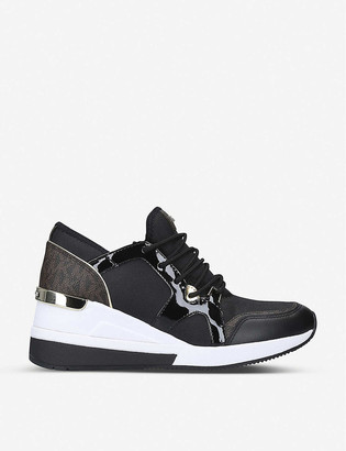 MICHAEL Michael Kors Liv leather and canvas wedge trainers