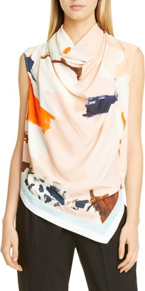 Proenza Schouler Abstract Print Cowl Neck Blouse