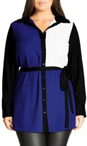 City Chic Plus Size Women's Colour Play Belted Colorblock Shirt