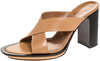 Bally Brown Leather Cross Strap Block Heel Slide Sandals Size 38