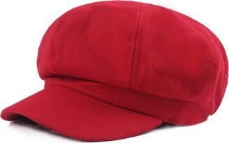 Licus Women Vintage Newsboy Cabbie Peaked Beret Cap Warm Baker Boy Visor Hat Flat Cap Red