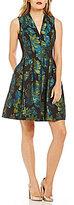 Vince Camuto Floral Jacquard Flare Dress