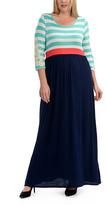Celeste Mint & Navy Stripe Maxi Dress - Plus