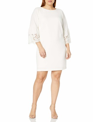 Jessica Howard JessicaHoward Women's Size Bell Sleeve Shift with Lace Trim
