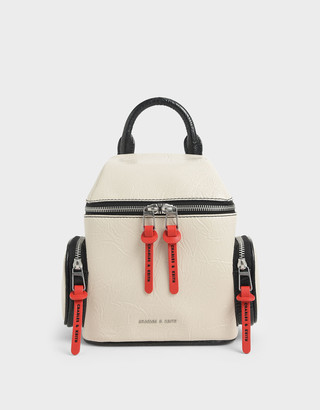 Charles & Keith Wrinkled Effect Two-Way Zip Backpack