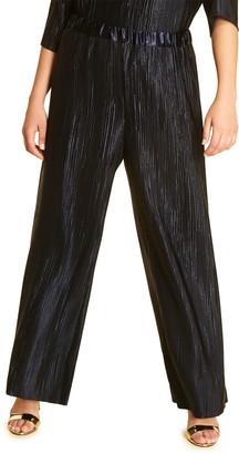 Marina Rinaldi Plus Size Rima Plisse Heavy Satin Wide-Leg Pants
