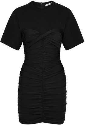 Alexander Wang Black Ruched Jersey And Cotton Mini Dress