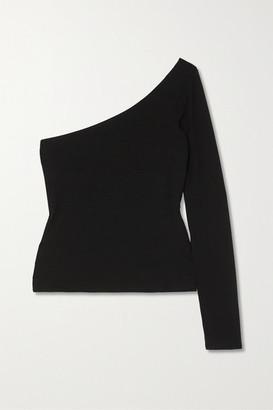 Reformation + Net Sustain Marnie One-sleeve Stretch-tencel Top - Black