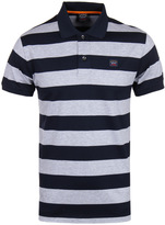 Paul & Shark Block Stripe Grey & Navy Short Sleeve Polo Shirt