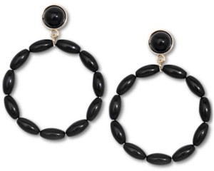 Zenzii Gold-Tone Beaded Drop Hoop Earrings