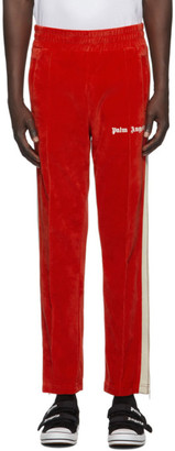 Palm Angels Red Chenille Track Pants