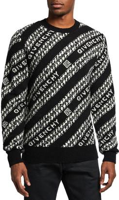 Givenchy Men's Diagonal Chain Jacquard Sweater