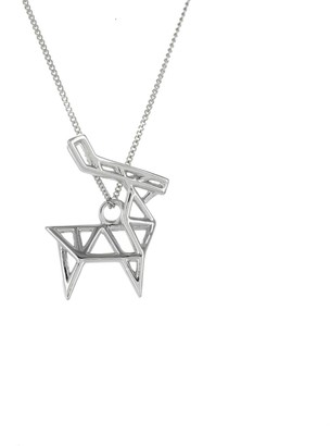 Origami Jewellery Frame Deer Necklace Sterling Silver