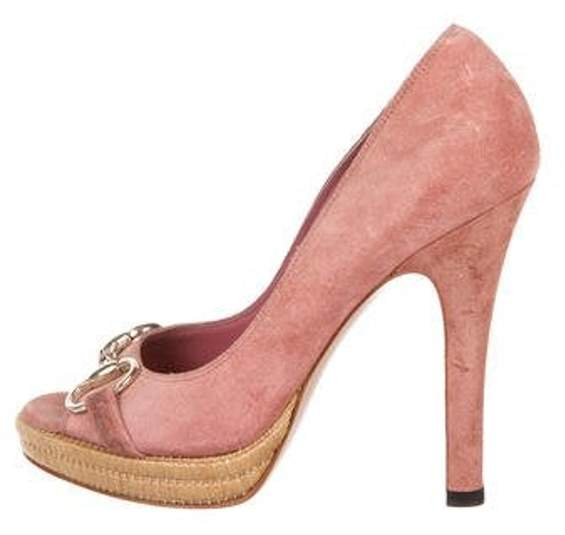 e8d6eb2d035 Peep-Toe Suede Pumps Rose Peep-Toe Suede Pumps