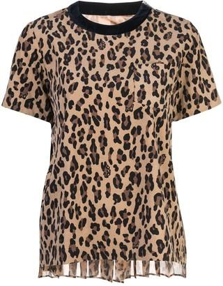 Sacai leopard print knit T-shirt