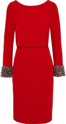 Badgley Mischka Embellished Gathered Stretch-crepe Dress