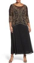 Pisarro Nights Plus Size Women's Embellished Mock Two-Piece Dress