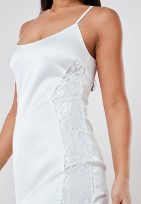 Missguided White Satin Lace Insert Mini Dress