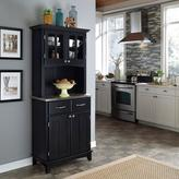 Home Styles Black Buffet with Stainless Top and Hutch