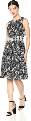 Taylor Dresses Women's Sleeveless fit and Flare Two Tone lace mesh Dress