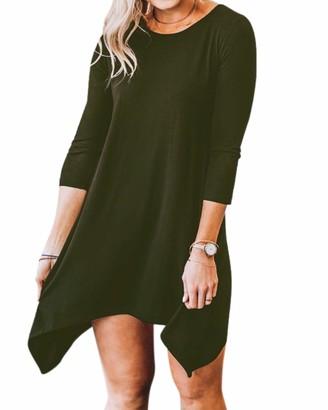 YOINS Women Casual T-Shirt Dress 3/4 Long Sleeve Loose Mini Dress Scoop Neck Tunic Dress Swing Dress Blue UK 16