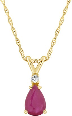 14K Gold Pear-Shaped Gemstone & Diamond Pendant w/ Chain