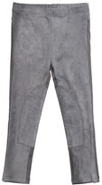 Imoga Stretch Suede and Jersey Leggings, Gray, Size 8-14