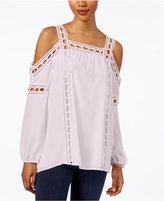 Style&Co. Style & Co Style & Co Petite Lace-Trim Off-The-Shoulder Blouse, Created for Macy's
