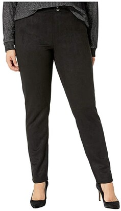 Hue Plus Size Microsuede Straight Leg Leggings (Black) Women's Casual Pants