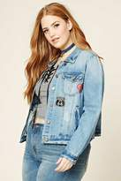 Forever 21 FOREVER 21+ Plus Size Patch Denim Jacket