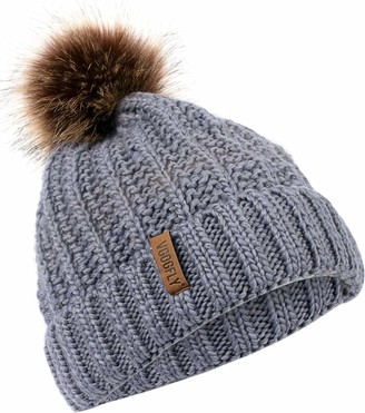 Vgogfly Pom Winter Hats for Women Knit Fleece Lined Beanie Hat for Women Warm Knitted Skull Cap Beany Hats Womens Dark Grey