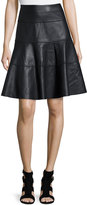 Bagatelle Faux-Leather A-Line Knee Skirt, Black