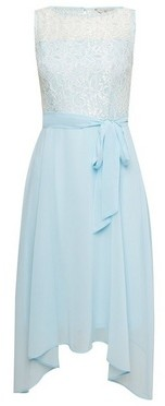 Dorothy Perkins Womens Billie & Blossom Petite Mint Lace Hanky Hem Dress