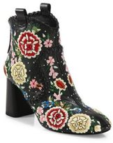 Alice + Olivia Myra Embroidered Leather Booties