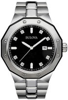 Bulova Mens Diamond-Accent Stainless Steel Watch