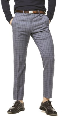 Todd Snyder Black Label Navy and Grey Tropical Wool Plaid Sutton Suit Trouser
