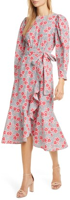 Rebecca Taylor Coral Fleur Long Sleeve Cotton Midi Dress