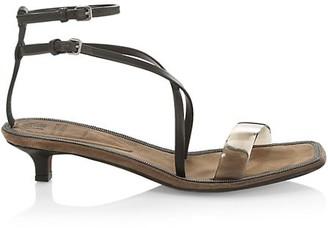 Brunello Cucinelli Kitten-Heel Leather Sandals