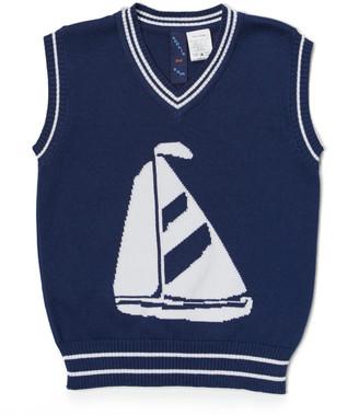 SAM. Sophie & Boys' Sweater Vests navy - Navy & White Sailboat Sweater Vest - Infant, Toddler & Boys
