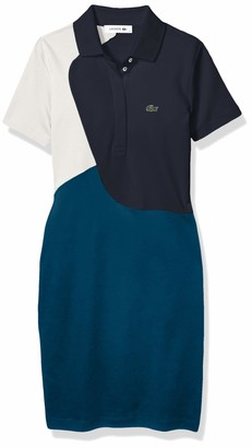 Lacoste Womens Short Sleeve Pima Color Block Polo Dress Casual Dress